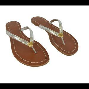 Tory Burch Silver Terra Thong Sandals Brand New